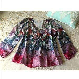 Sundance Catalog $138 floral silk garden blouse S